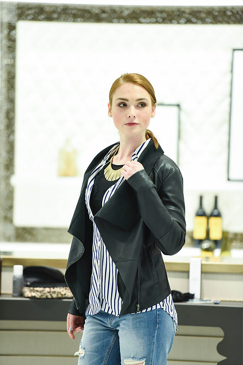 express leather jacket and Stella and dot necklace